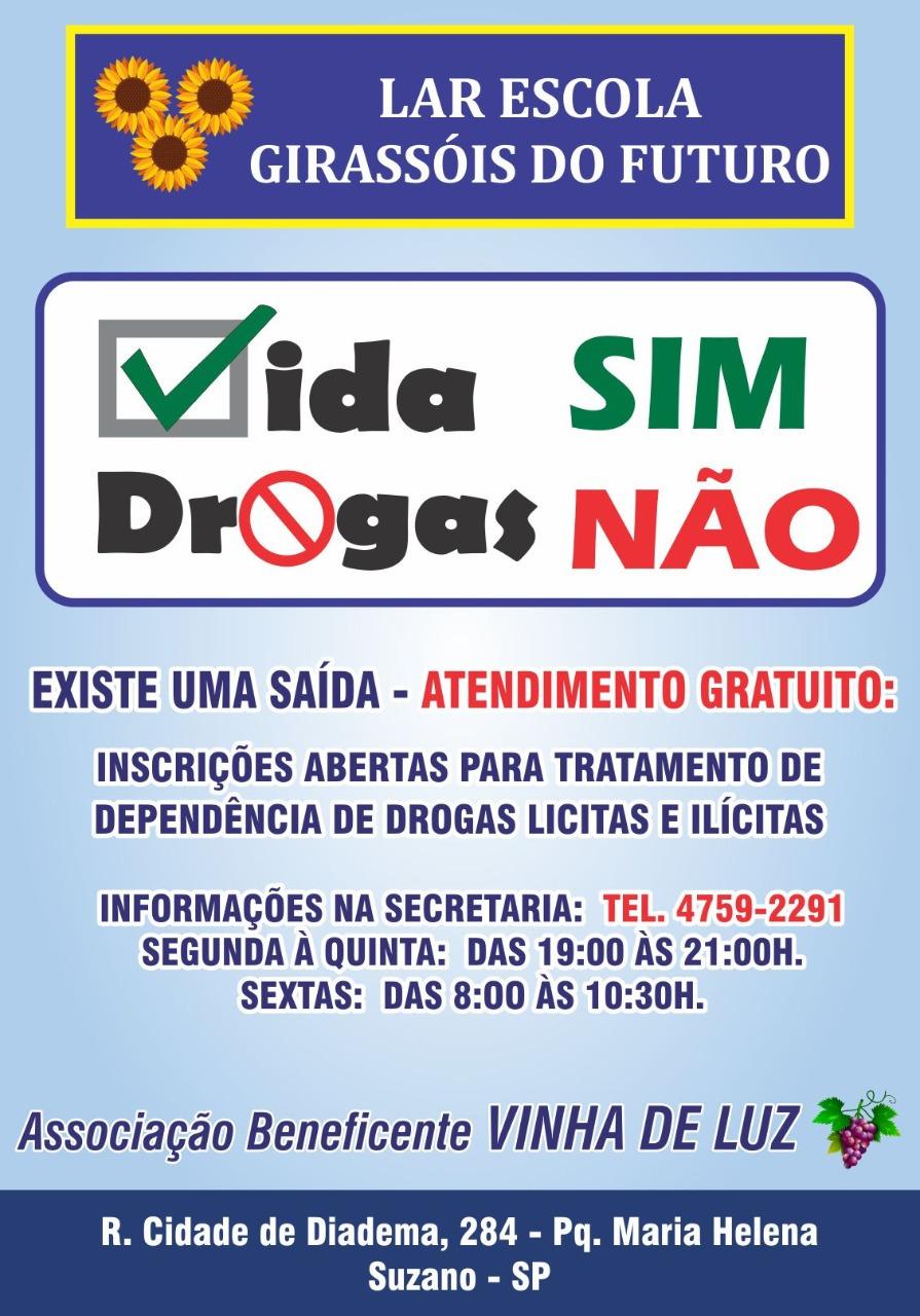 Inscrições abertas para tratamento inteiramente gratuito de dependência de drogas lícitas e ilícitas